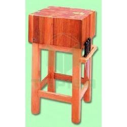 Tajo de madera con pie de madera