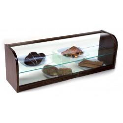 Vitrina neutra abierta con cristal curvo de dos pisos
