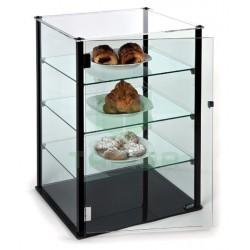 Vitrina neutra cerrada de cristal plano de tres estantes o alturas