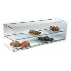 Vitrina neutra abierta de cristal curvo con dos pisos